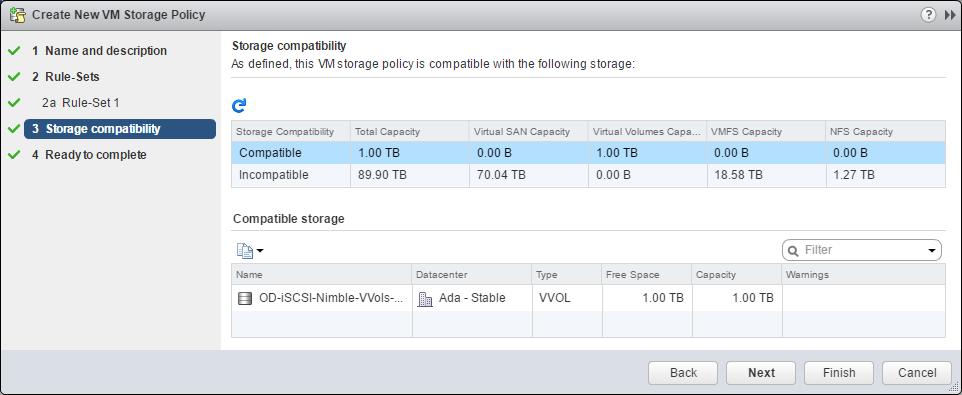 vSphere Web Client VM Storage Policy storage compatibility