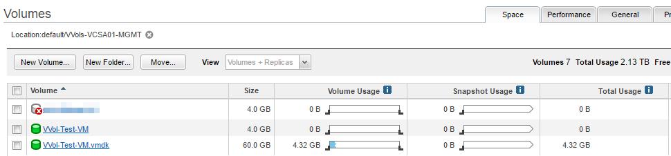 Nimble Storage array UI VVol VM volumes