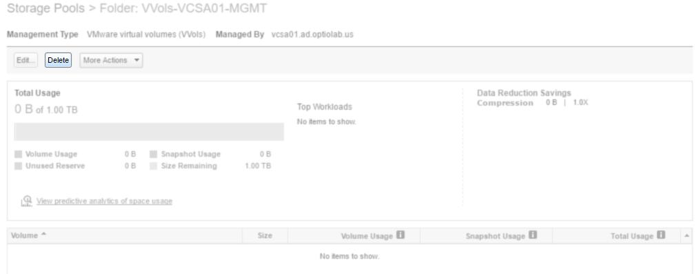 Nimble Storage array UI delete folder