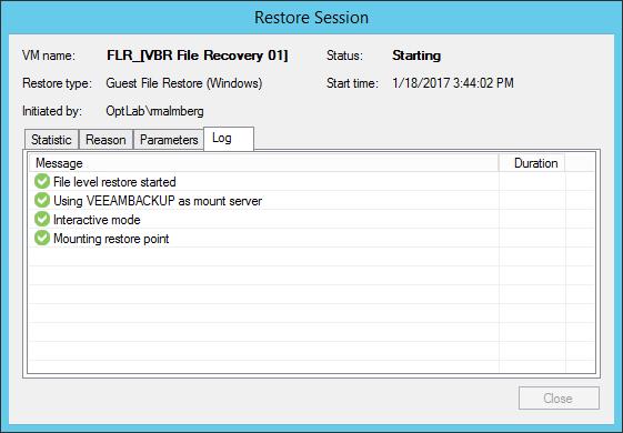 Veeam Restore task log